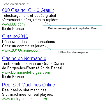 Détournements AdWords: Casino